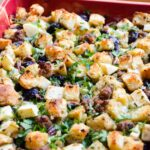 Thanksgiving Stuffing in a red casserole dish.