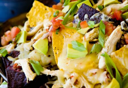 Chicken Avocado and Monterey Jack Nachos
