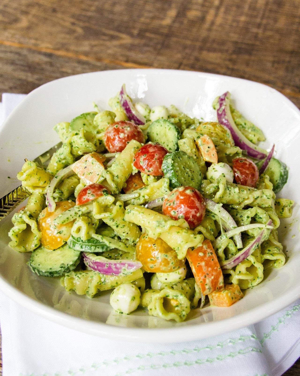 Creamy Pesto Pasta Salad | Blue Jean Chef - Meredith Laurence