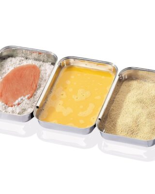 3 Piece Stainless-Steel Breading Trays