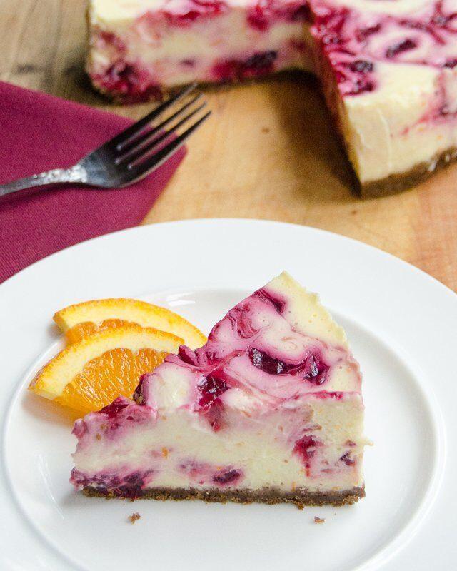 Orange and Cranberry Swirl Cheesecake