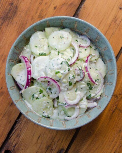 Cucumber Salad with Creamy Vidalia Onion Dressing