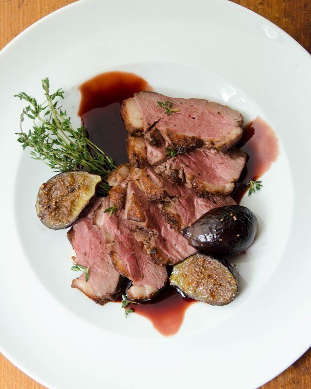 Duck Breast with Roasted Figs and Pomegranate Molasses