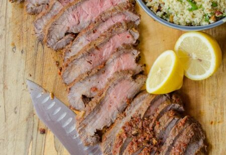 Sun-Dried Tomato Flat Iron Steak with Lemon Hazelnut Couscous