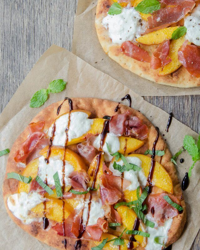 Peach, Prosciutto and Burrata Flatbread