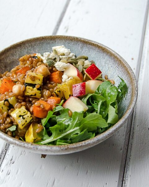 Wheat Berry Grain Bowl with Arugula, Roasted Carrots and Delicata Squash