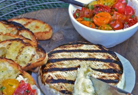 Grilled Brie with Roasted Cherry Tomatoes