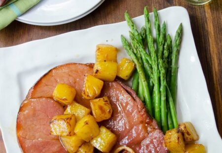 Ham Steak with Fried Pineapple and Brown Sugar Glaze