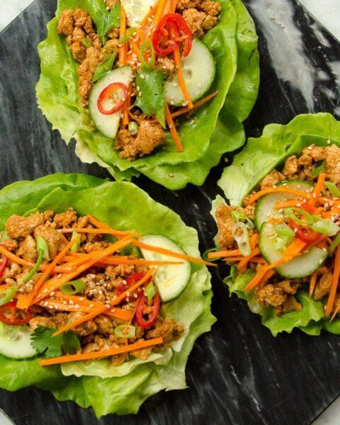 Korean BBQ Chicken Lettuce Wraps
