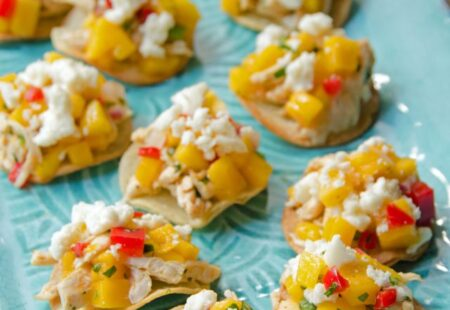Chicken, Queso Fresco and Mango Salsa Tostada Bites