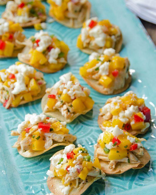 Chicken, Queso Fresco and Mango Salsa Tostada Bites