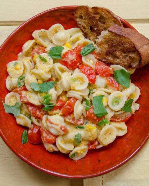Creamy Corn and Tomato Orecchiette