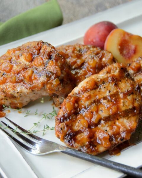 Grilled Pork Chops with Peach BBQ Sauce