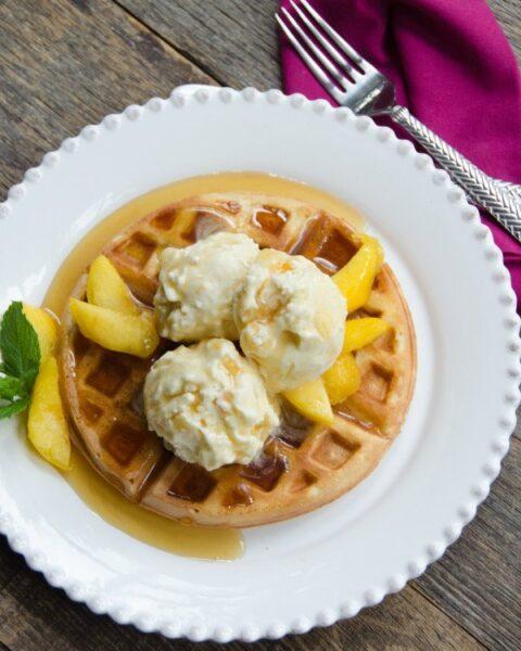 Peach Ice Cream with Waffles