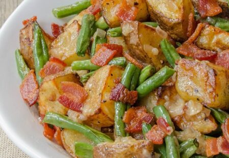 Potatoes and Green Beans with Warm Bacon Dressing