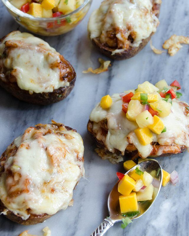 BBQ Chicken Stuffed Potato Skins with Mango Salsa