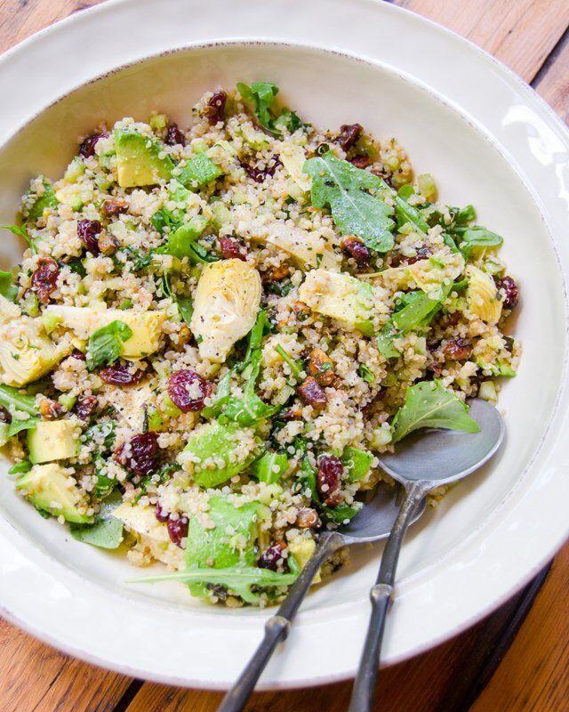 Quinoa Salad with Artichokes, Dried Cherries, Pistachios, Avocado and Arugula
