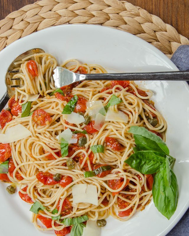 Quick Roasted Tomato Sauce with Capers and Basil