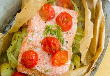 Sockeye Salmon en Papillote with Potatoes, Fennel and Dill