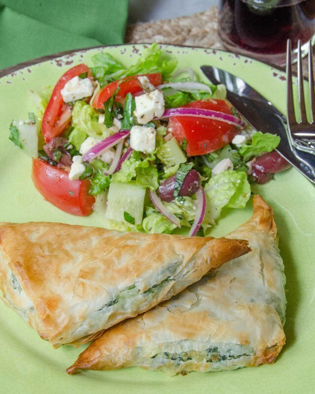 Spinach and Ricotta Phyllo Pockets with Greek Salad