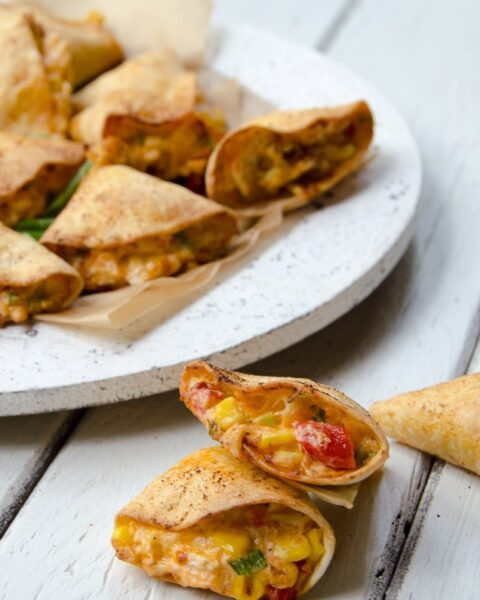 Air-Fried Chicken Stuffed Tortillas with Peppers and Corn