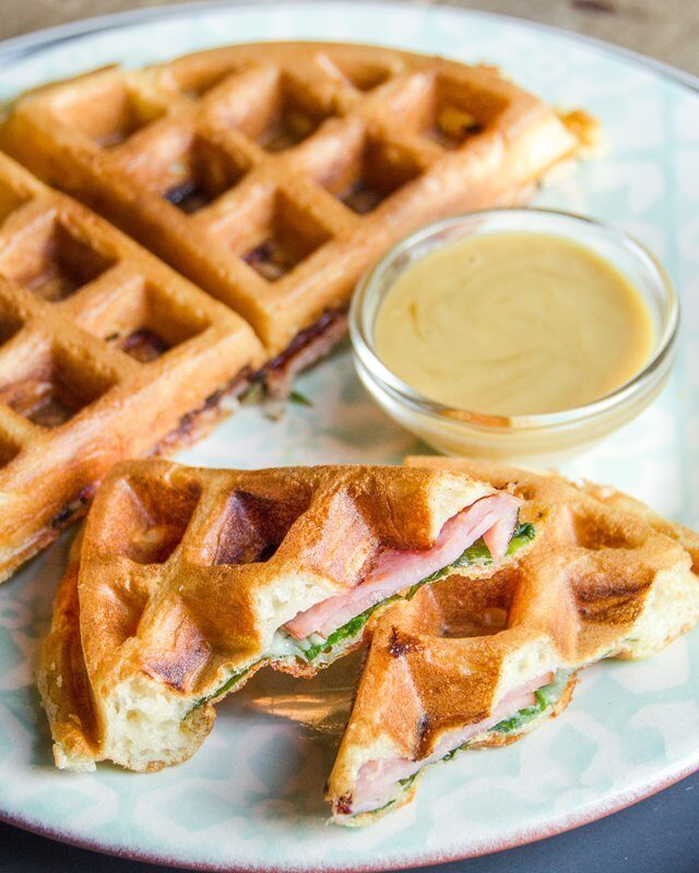 Spinach, Ham and Gruyere Cheese Stuffed Waffles