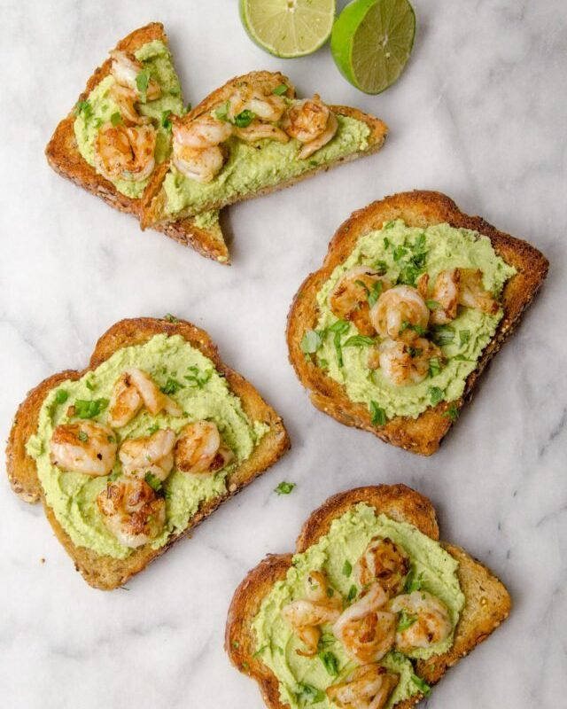 Edamame Avocado Toast with Grilled Shrimp