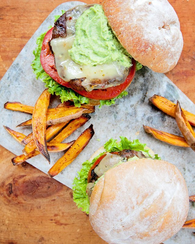 Spicy Black Bean Turkey Burgers with Cumin-Avocado Spread