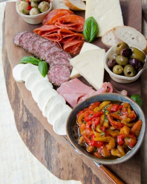 Tuscan Antipasti Board with Marinated Roasted Peppers
