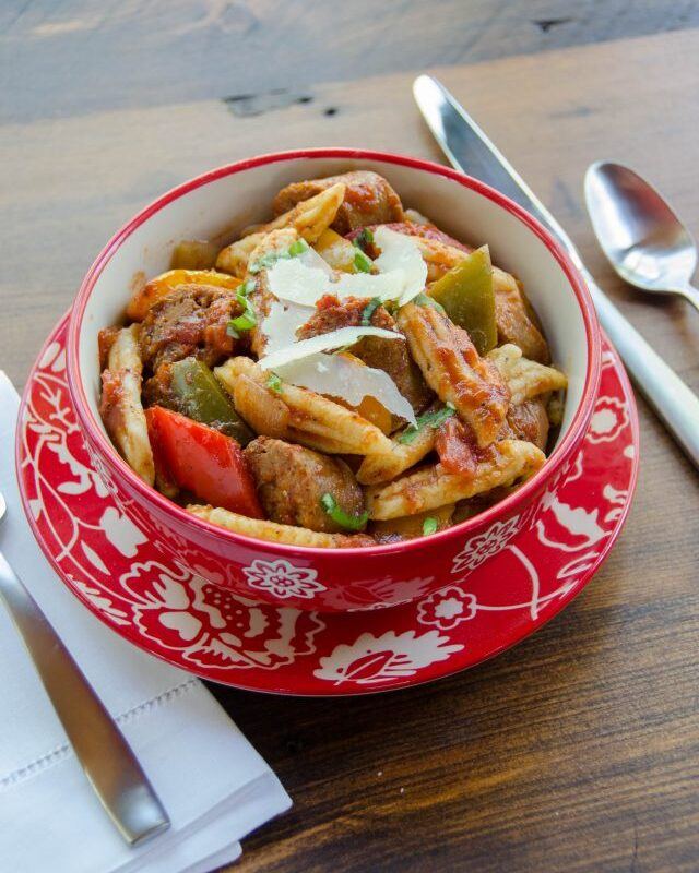 Penne Pasta with Sausage, Peppers and Onions