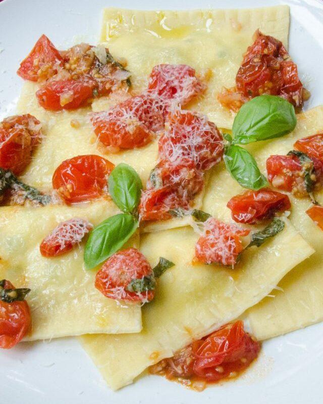 Zucchini Lemon Ricotta Ravioli with Roasted Cherry Tomato Sauce