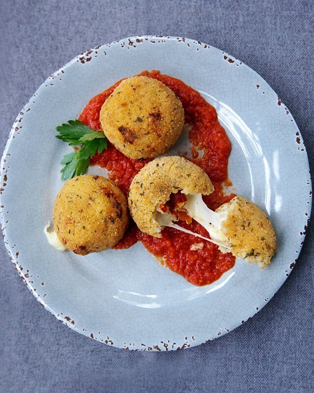 Arancini with Sun-dried Tomatoes and Mozzarella