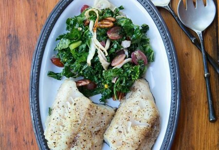 Black Cod with Grapes, Fennel, Pecans and Kale