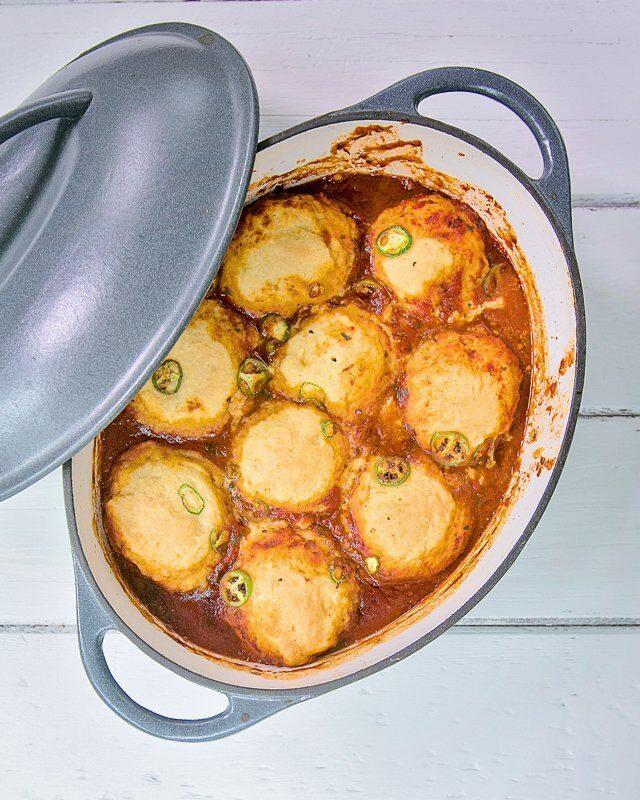 Chili con Carne with Cornbread Dumplings