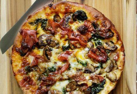 Deep Dish Prosciutto, Spinach & Mushroom Pizza