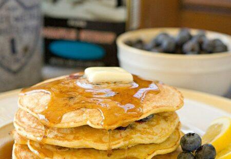 Lemon Blueberry Cornmeal Pancakes