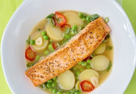 Salmon with Potatoes and Peas in a Ginger Broth