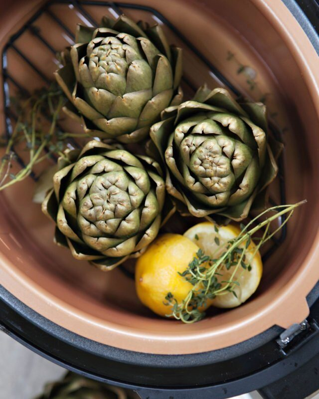 Pressure Steamed Artichokes with Lemon Aïoli