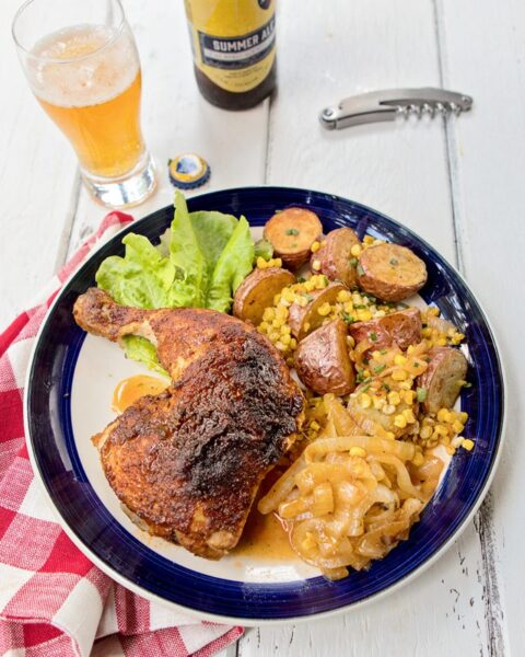 Summer Ale Chicken with Onion, Baby Red Potatoes and Summer Corn