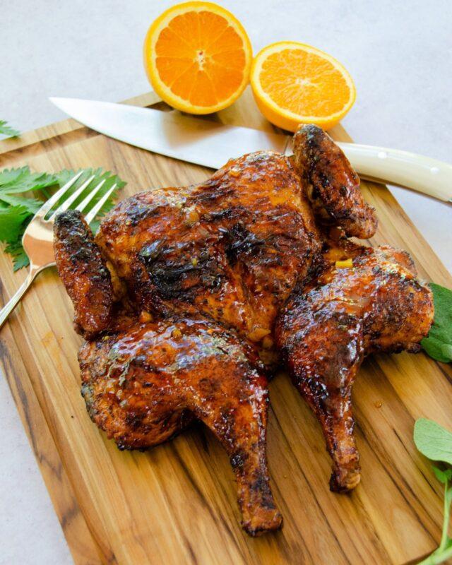 Orange Spiced Grilled Spatchcocked Chicken
