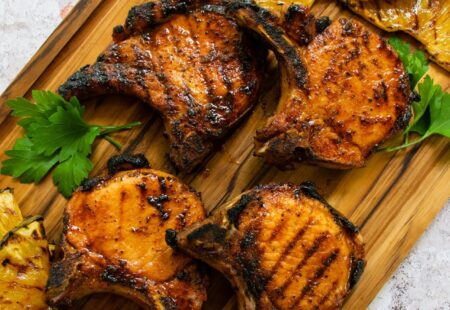 Brined Pork Chops with Grilled Pineapple