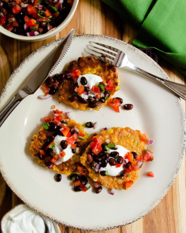 Spicy Corn Cakes with Black Bean Salsa
