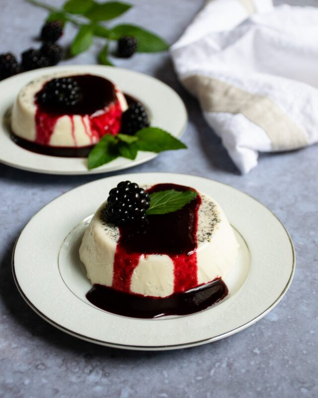Panna Cotta with Blackberry Brandy Sauce