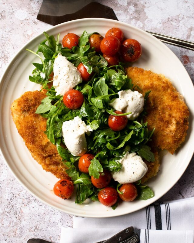Chicken Paillard with Burrata and Roasted Cherry Tomatoes
