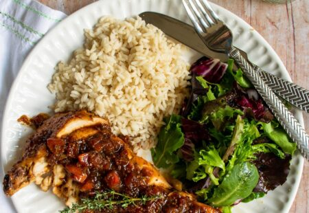 Chicken Breasts with Tomato Balsamic Pan Sauce