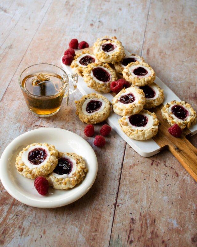 Raspberry Cream Cheese Thumbprint Cookies
