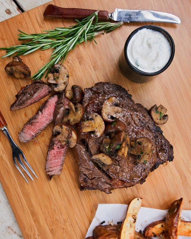 Marinated Rib Eye Steak with Herb Roasted Mushrooms