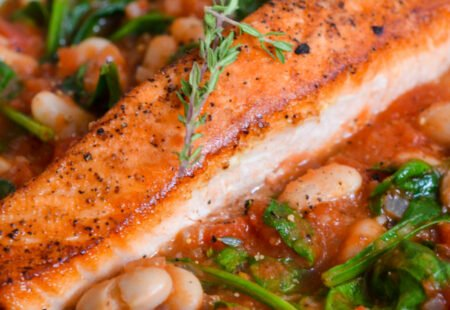 Oven-Roasted Salmon with White Beans, Tomato and Spinach