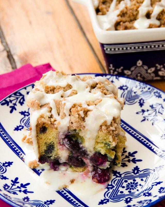 Blueberry Crumb Coffee Cake with Lemon Glaze
