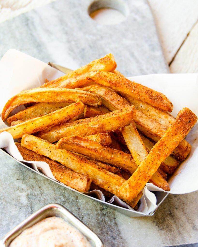 air fryer steak fries cook time